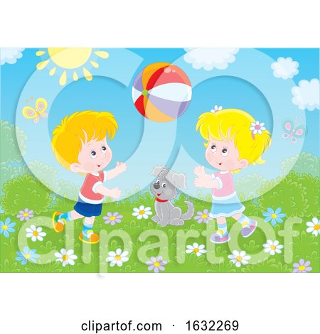 Blond Boy and Girl Playing with a Ball Outside by Alex Bannykh