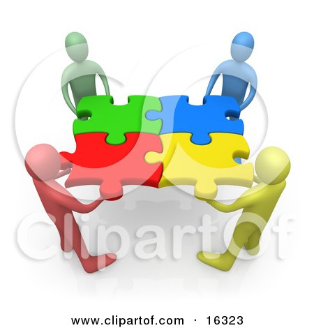 Team Of Diverse People Holding Up Connected Pieces To A Colorful Puzzle, Symbolizing Excellent Teamwork, Success And Link Exchanging Clipart Illustration Graphic by 3poD