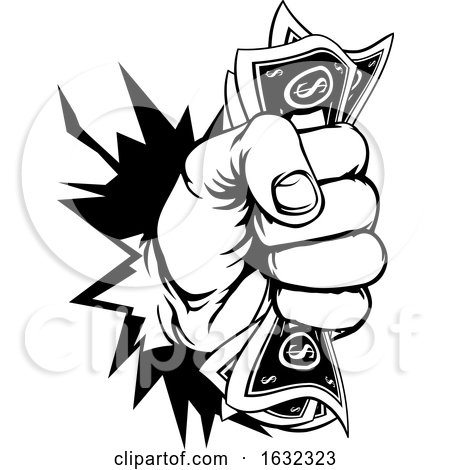 Fist Holding Cash Money Breaking Background by AtStockIllustration
