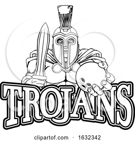 Spartan Trojan Bowling Sports Mascot Posters, Art Prints
