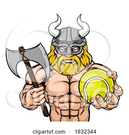 Viking Tennis Sports Mascot by AtStockIllustration