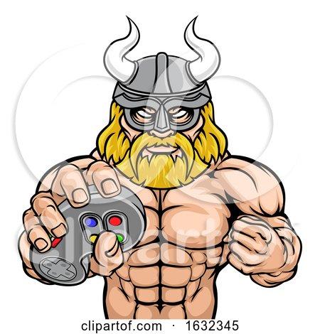 Viking Gamer Gladiator Warrior Controller Mascot by AtStockIllustration