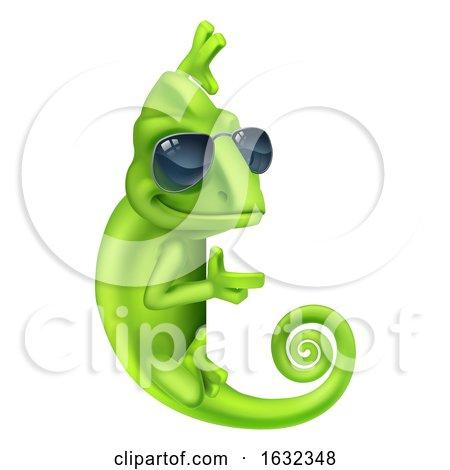 Chameleon Cool Shades Cartoon Lizard Character by AtStockIllustration