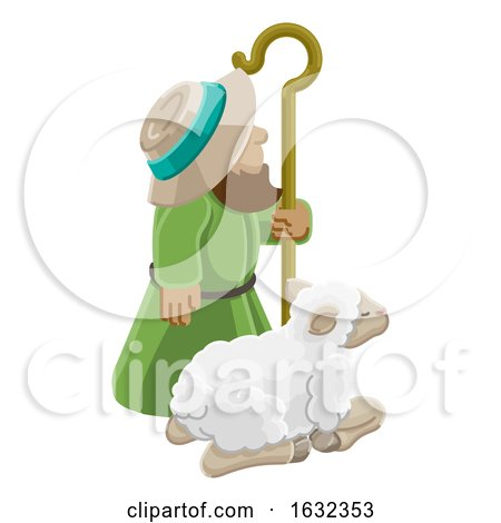 Cartoon Traditional Shepherd and Sheep or Lamb by AtStockIllustration