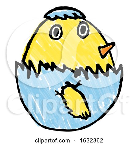 Cute Easter Chick Childs Drawing by AtStockIllustration