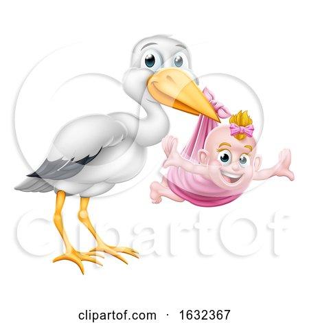 Stork Cartoon Pregnancy Myth Bird with Baby Girl by AtStockIllustration