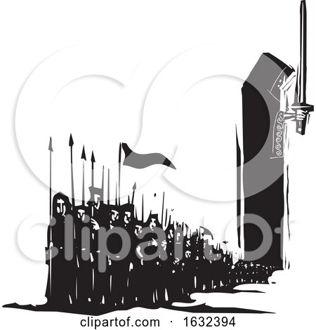 Black and White Army Emerging from the Cloak of a King by xunantunich