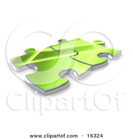 Two Green Puzzle Pieces Connected Over A White Background, Symbolizing Interlinking For Seo Website Marketing, And Teamwork Clipart Illustration Graphic by 3poD