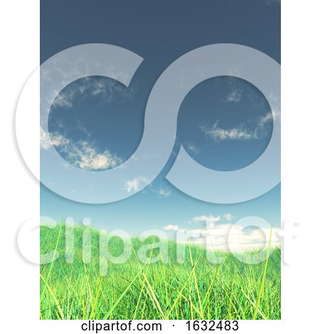 3D Grassy Landscape with Blue Sky by KJ Pargeter