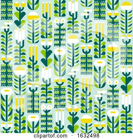 Seamless Pattern with Wild Herbs and Flowers in Flat Style Posters, Art Prints