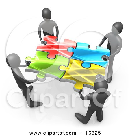 Team Of Four Black People Holding Up Connected Pieces To A Colorful Puzzle, Symbolizing Excellent Teamwork, Success And Link Exchanging Clipart Illustration Graphic by 3poD