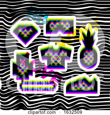 Glitch Effect Social Network Stickers in Hip Hop Style. Contemporary Geometric Design Elements in Multiply Blend Mode by elena