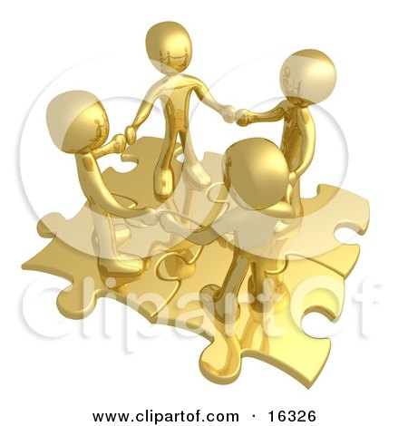 Four Gold People Holding Hands While Standing On Connected Gold Puzzle Pieces, Symbolizing Teamwork, And Interlinking For Seo Website Marketing  Posters, Art Prints