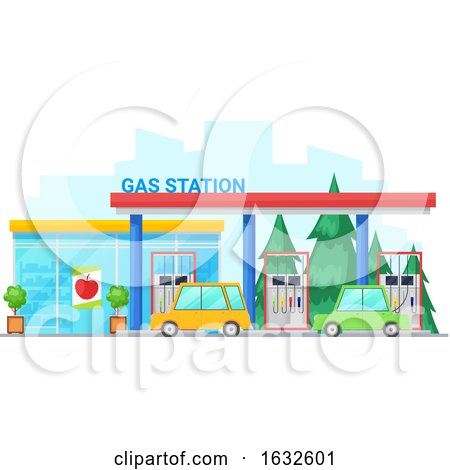 Gas Station Building Storefront by Vector Tradition SM