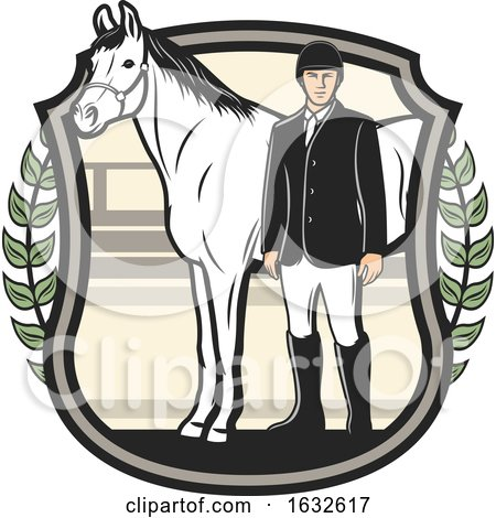 Equestrian and Horse in a Sheild by Vector Tradition SM