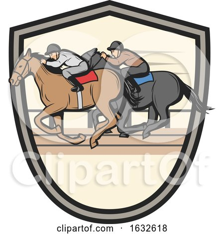 Jockeys Racing Horses in a Shield by Vector Tradition SM