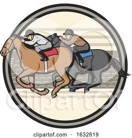 Jockeys Racing Horses in a Circle by Vector Tradition SM