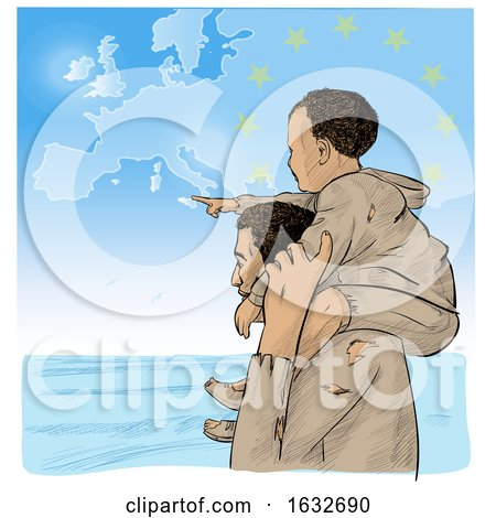Migrant Father Carrying His Pointing Son on His Shoulders As They Look over the Sea with a European Map in the Sky by Domenico Condello