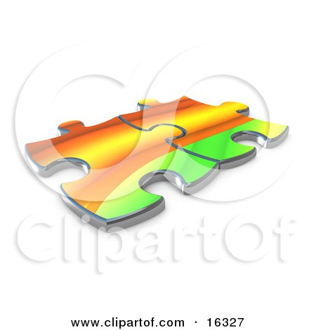 Two Colorful Puzzle Pieces Connected Over A White Background, Symbolizing Interlinking For Seo Website Marketing, And Teamwork Clipart Illustration Graphic by 3poD