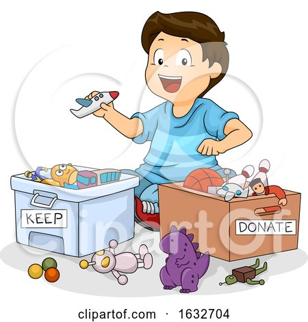 Kid Boy Sort Toys Donate Keep Illustration by BNP Design Studio