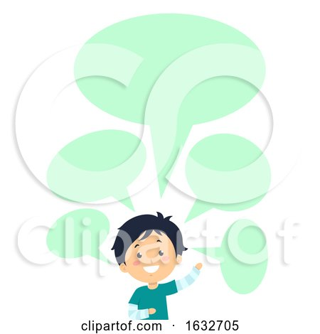 Kid Boy Speech Bubbles Blank Wave Illustration by BNP Design Studio