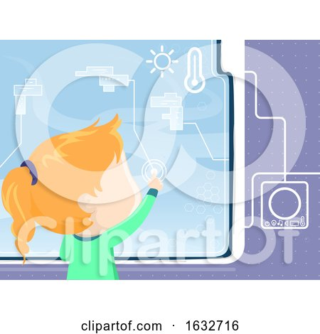 Kid Girl Window Smart Interface Illustration by BNP Design Studio