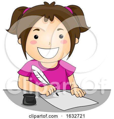Kid Girl Quill Pen Write Illustration by BNP Design Studio
