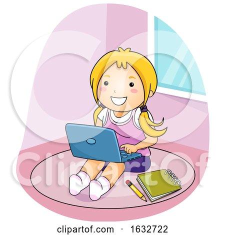 Kid Girl Laptop Floor Illustration by BNP Design Studio