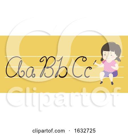 Kid Girl Calligraphy Illustration by BNP Design Studio
