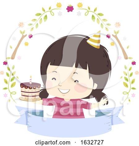 Kid Girl Birthday Cake Woodland Ribbon by BNP Design Studio