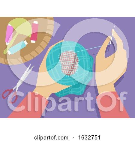 Hands Darning Illustration by BNP Design Studio