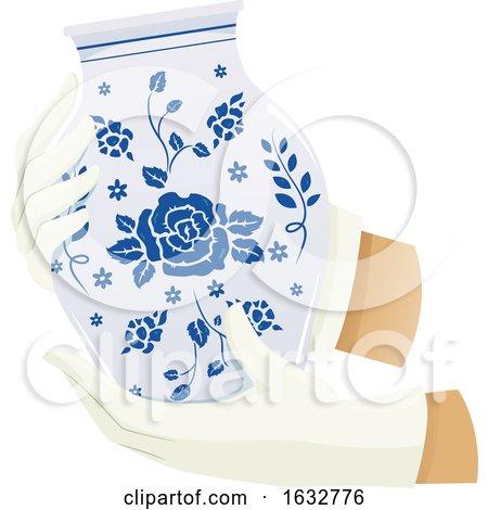 Hands Hold Porcelain Jar Illustration by BNP Design Studio