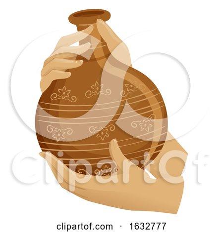 Hands Hold Pot Earthen Jar Illustration by BNP Design Studio