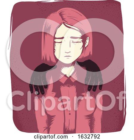 Girl Sexual Harassment Hands Illustration by BNP Design Studio