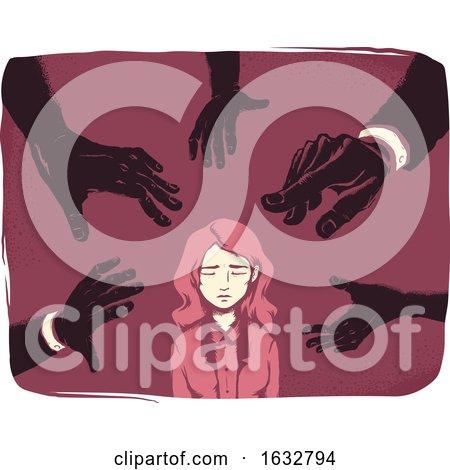 Girl Hands Harassment Illustration by BNP Design Studio