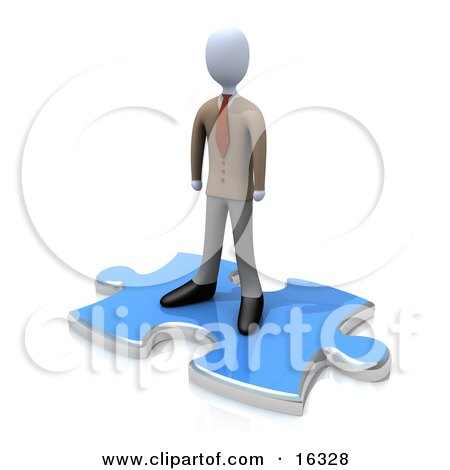 Professional Business Man Standing On Top Of A Blue Puzzle Piece, Symbolizing The Missing Piece To A Puzzle, Someone Coming In To Solve Problems, Etc  Posters, Art Prints
