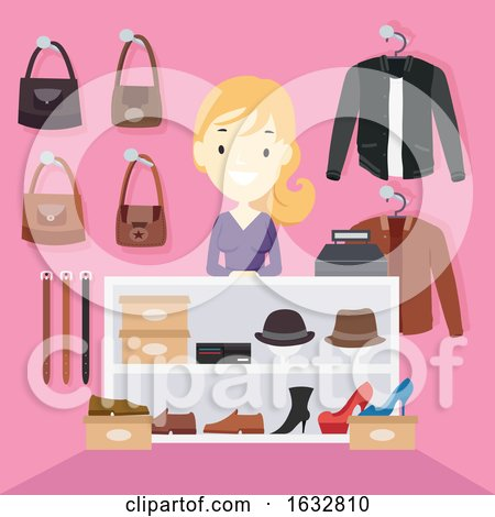 Girl Shop Counter Leather Items Illustration by BNP Design Studio