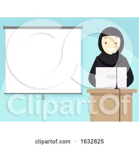 Girl Hijab Talk Projector Qatar Illustration by BNP Design Studio