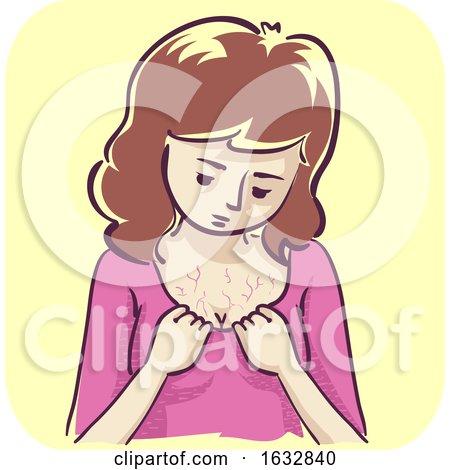 Girl Veins on Chest Illustration by BNP Design Studio