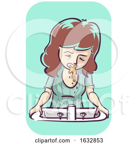 Girl Morning Sickness Vomit Illustration by BNP Design Studio