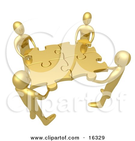 Team Of Four Golden People Holding Up Connected Pieces To A Gold Puzzle, Symbolizing Excellent Teamwork, Success And Link Exchanging Clipart Illustration Graphic by 3poD