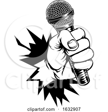 Hand Holding Microphone Breaking Background by AtStockIllustration