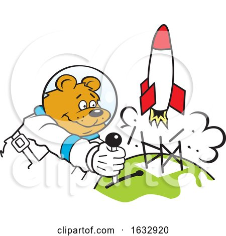 Cartoon Astronaut Bear Launching a Rocket by Johnny Sajem