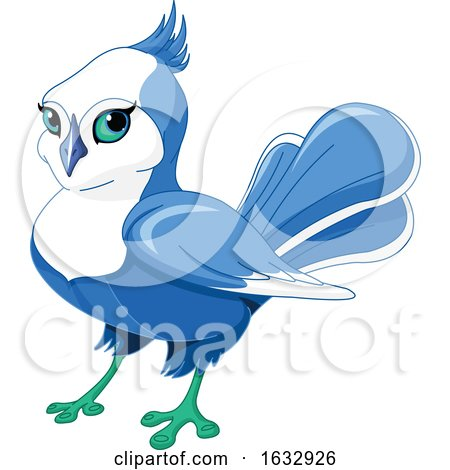 Cute Blue and White Bird by Pushkin