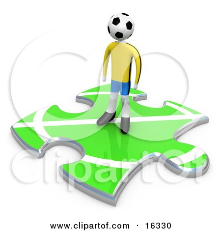 Lone Soccer Player With A Ball As A Head, Standing On A Green Puzzle Piece With Part Of A Field, Symbolizing Only Part Of A Team  Posters, Art Prints