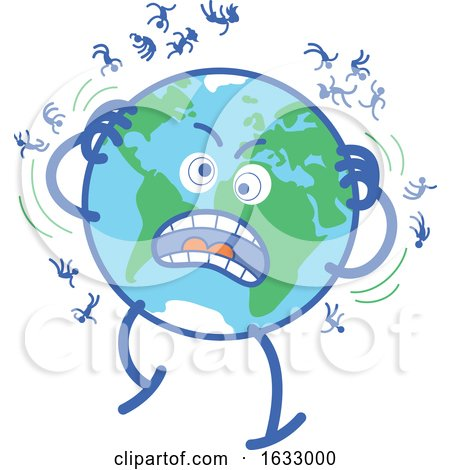Earth Globe Character Desperately Scratching Humans off by Zooco