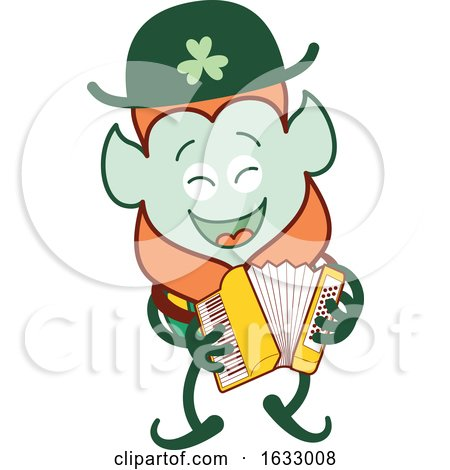 St Patricks Day Leprechaun Playing an Accordion by Zooco
