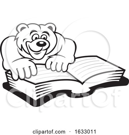 Cartoon Black and White Bear Reading a Book by Johnny Sajem
