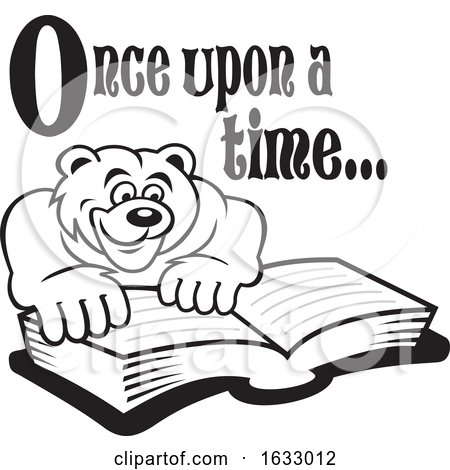 Cartoon Black and White Once upon a Time Text over a Bear Reading a Book by Johnny Sajem