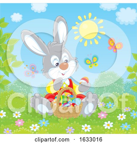 Easter Bunny Sitting with a Basket of Eggs by Alex Bannykh